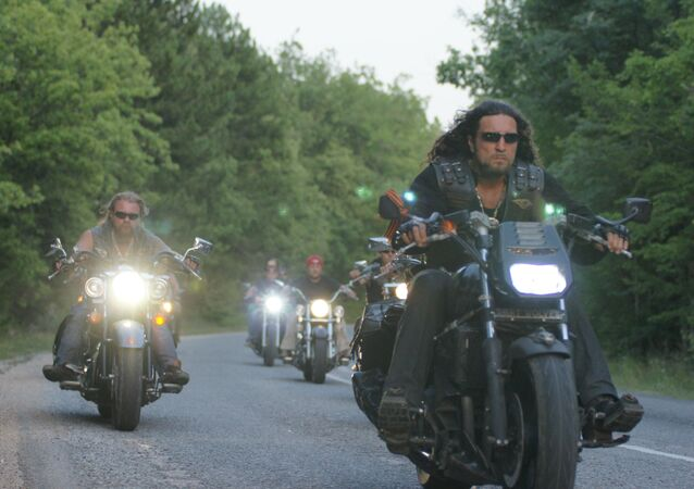 Night Wolves bikers, front: Alexander Surgeon Zaldostanov