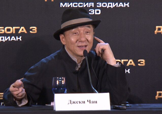 Jackie Chan sings love songs at the Moscow premiere of his latest film