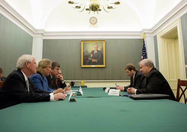 Russia's Ambassador to the United States Sergey Kislyak, far right, met Wednesday with US Senators (from left) Roger Wicker of Mississippi, Mary Landrieu of Louisiana, Roy Blunt of Missouri and Jack Reed of Rhode Island.