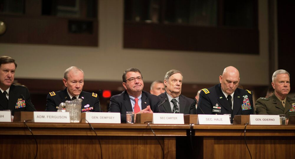 (L-R) Vice Chief of Naval Operations ADM Mark Ferguson, Chairman of the Joint Chiefs of Staff Gen. Martin Dempsey, Deputy Defense Secretary Ashton Carter, Defense Undersecretary Robert Hale, Army Chief of Staff Gen. Raymond Odierno, and the Commandant of the Marine Corps Gen. James Amos testify before the Senate Armed Services Committee on the impacts of sequestration in Washington DC, Feb. 12, 2013. DOD photo by D. Myles Cullen