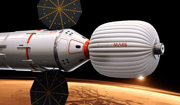 One of the prototype space capsules being considered for the Inspiration Mars mission