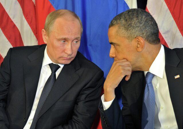 A file photo of Russian President Vladimir Putin and US President Barack Obama