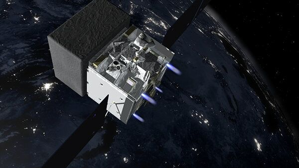 Artist's rendition of Fermi firing its thrusters to move out of the way of a defunct Soviet-era satellite.