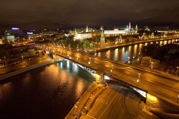 A view of Moscow and the Kremlin at night