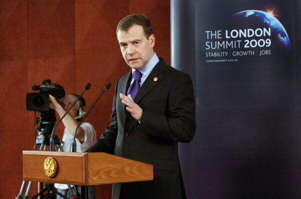 Russian President Dmitry Medvedev during his participation in the 2009 G20 summit in London - Sputnik International