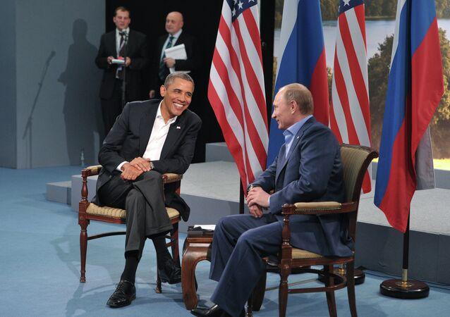 US President Barack Obama meets with Russian President Vladimir Putin during the G8 Summit at Lough Erne in Enniskillen, Northern Ireland, June 17, 2013