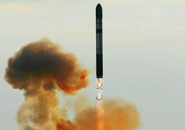 Launching an RS-20 Voyevoda (SS-18 Satan) intercontinental ballistic missile
