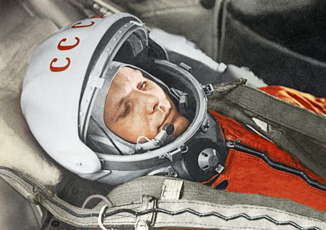 Russian astronaut Yuri Gagarin prepares for a space flight in 1961.