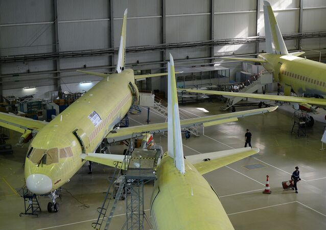 Sukhoi Superjets being assembled at the Sukhoi plant in Komsomolsk-on-Amur, eastern Russia.