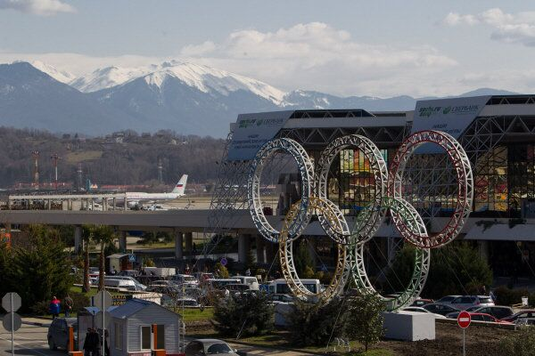 The five Olympic rings stand in front of the Sochi Airport.