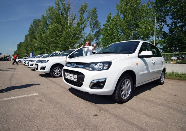 Lada Kalinas undergoing tests at the AvtoVaz test track in Tolyatti.