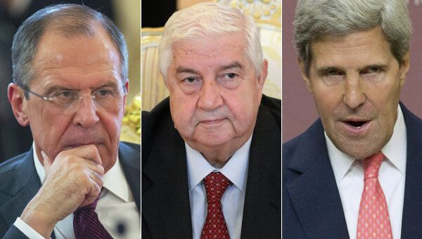 Russian Foreign Minister Sergei Lavrov, Syrian Foreign Minister Walid Muallem, US Secretary of State John Kerry