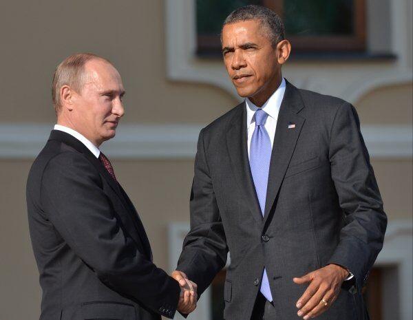 Russian President Vladimir Putin and US President Barack Obama in St. Petersburg, Russia, on September 5