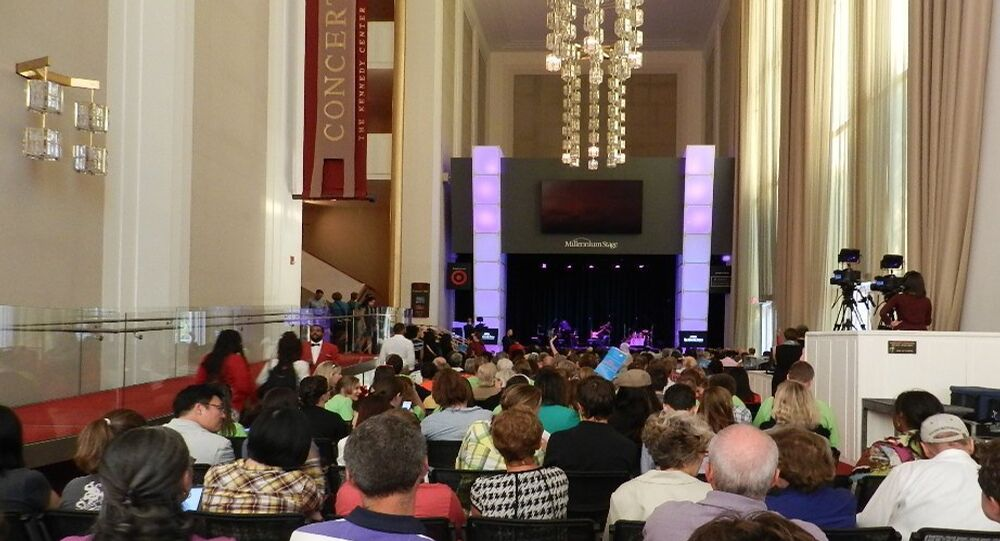 A packed house of hundreds of spectators crowded into the Kennedy Center's Millenium Stage performance area for the Tuesday night performance.