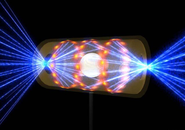 "An artist's rendition of lasers being shot into a capsule to create nuclear fusion, which is often referred to as the ""holy grail"" of energy production."