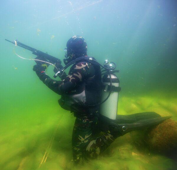 Exercise with the Soviet-designed APS underwater assault rifle - Sputnik International
