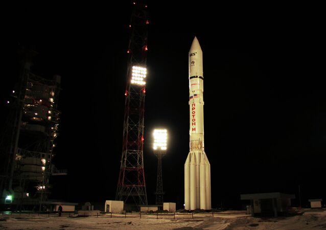 A Proton-M carrier rocket sits on a launch pad at the Baikonur space center in Kazakhstan