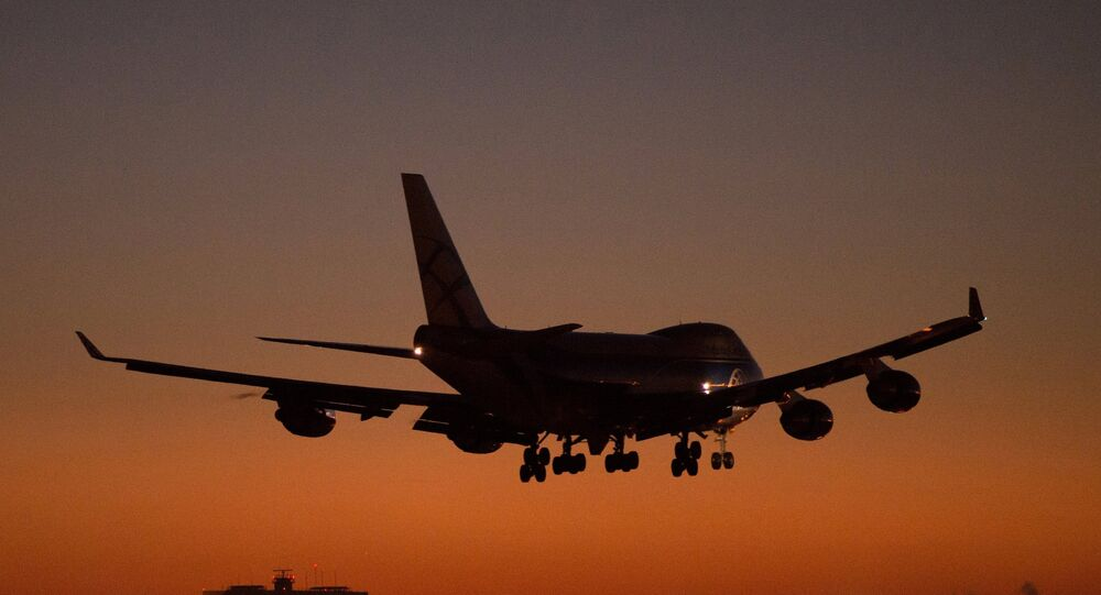 A Boeing 747 landing at Sheremetyevo Moscow Airport