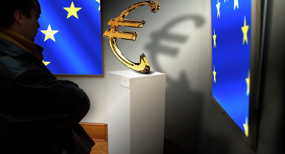 European Union flag and euro currency logo