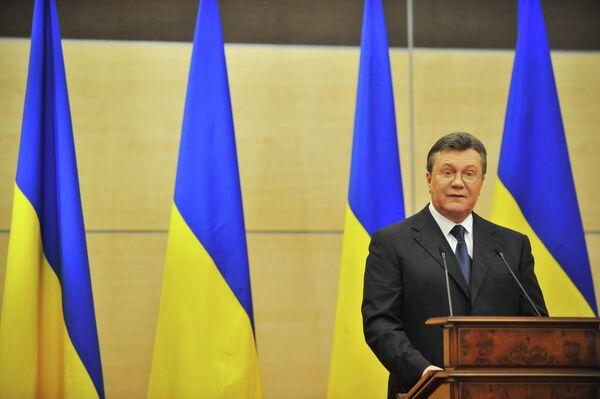 Ousted Ukrainian President Viktor Yanukovych gives speech at press-conference in Rostov-on-Don - Sputnik International
