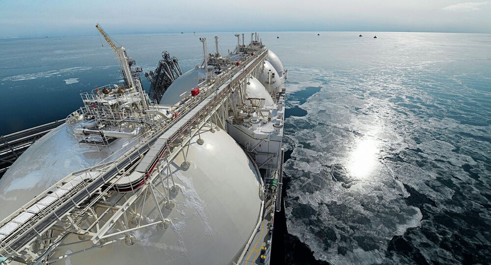 Liquefied natural gas tanker Grand Aniva at first LNG plant in Russia