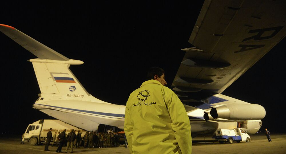 Russian plane with humanitarian aid in Latakia Airport in Syria (Archive)