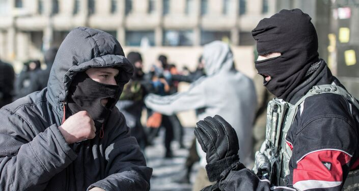 Right Sector activists train in hand-to-hand combat on Independence Square in Kiev