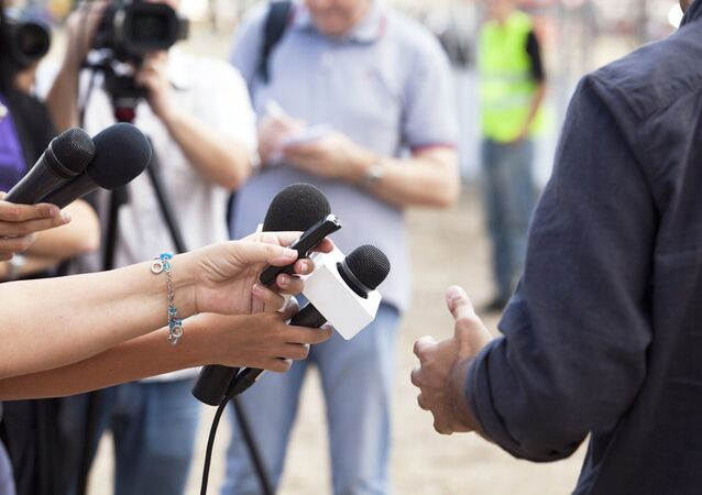 Journalists during an interview