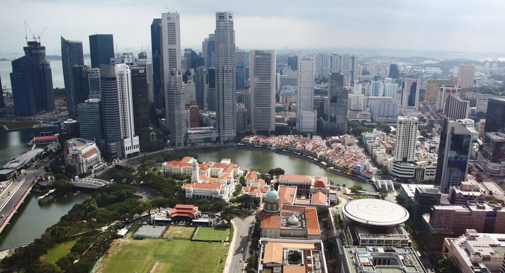 View on City towers (Singapore river) across the river and old and new Parliaments (front plan)