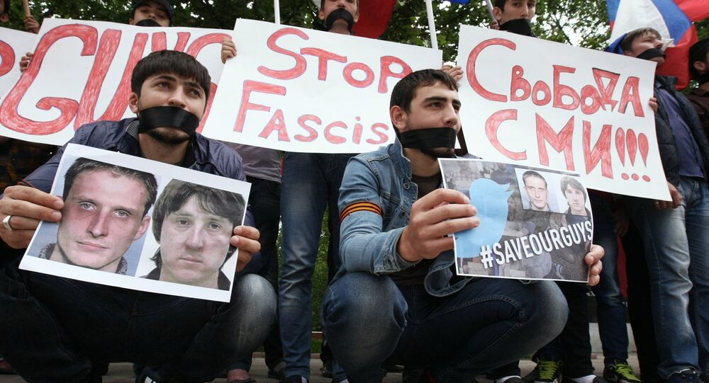 Rally in support of Russian journalists detained in Ukraine