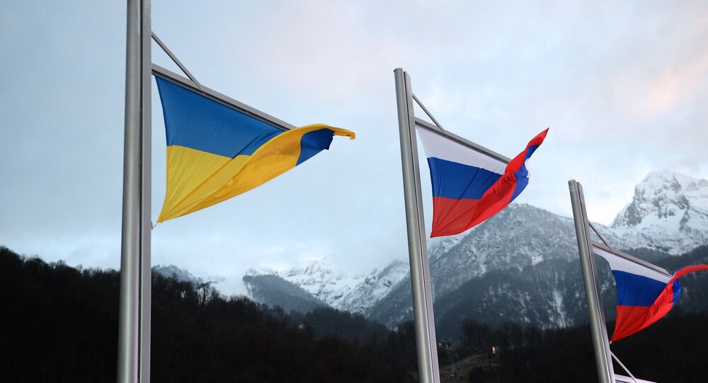 National Ukrainian and Russian flags