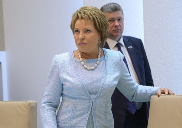 Federation Council Chair Valentina Matviyenko at a Federation Council meeting.