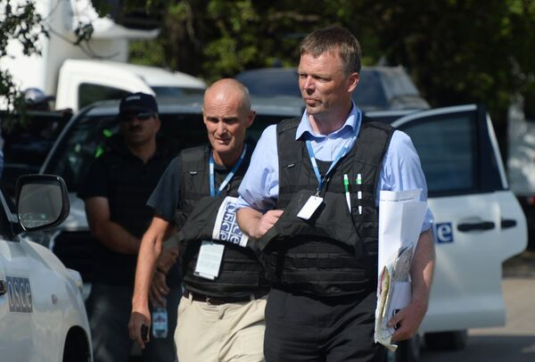 Experts and the OSCE representatives work at the Malaysian Boeing 777 crash site. - Sputnik International