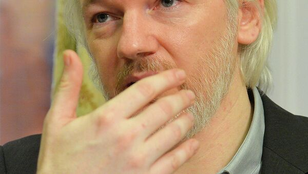 WikiLeaks founder Julian Assange gestures during a news conference at the Ecuadorian embassy in central London August 18, 2014. - Sputnik International