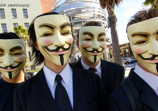 Anonymous with Guy Fawkes masks at the Scientology area in Los Angeles