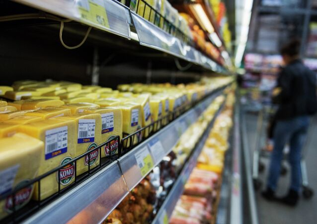 EU dairy products in shop in one of Russia's regions