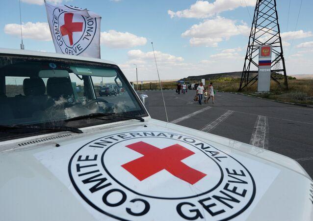 Автомобиль Красного Креста, который сопровождает колонну автомобилей КамАЗ с гуманитарной помощью для жителей юго-востока Украины, на КПП Донецк
