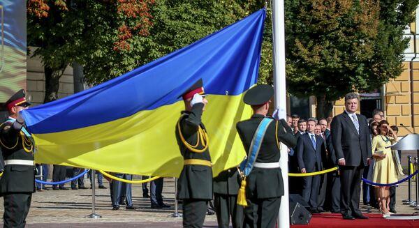 President of Ukraine Petro Poroshenko at the ceremony of raising Ukraine's National flag in Kiev - Sputnik International