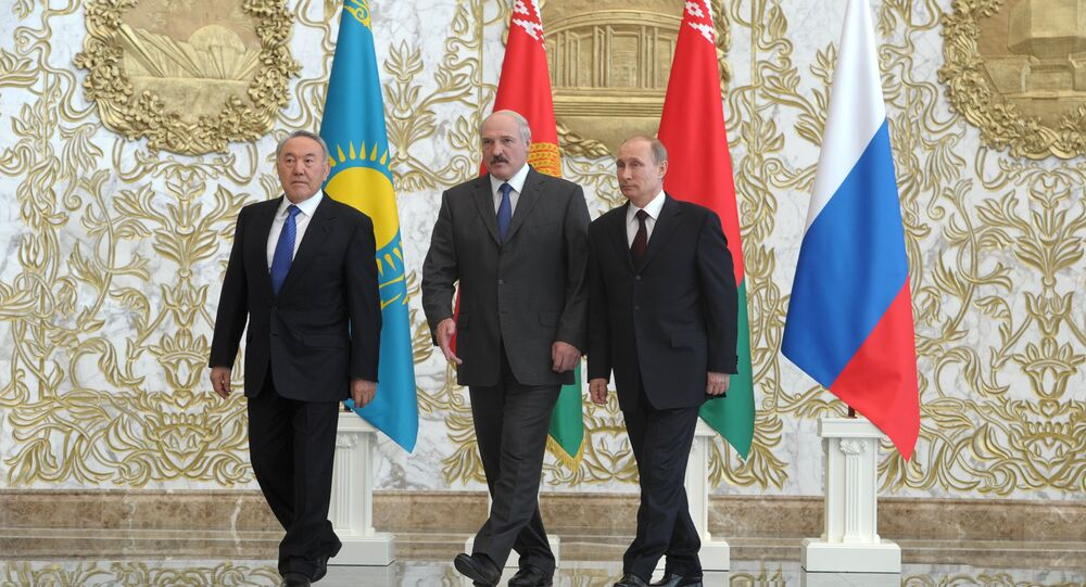Presidents of Kazakhstan, Belarus and Russia - three member states of the Customs Union