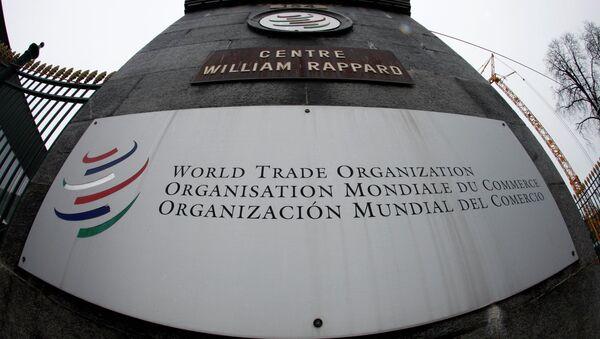 World Trade Organization (WTO) logo at the entrance of the WTO headquarters in Geneva - Sputnik International