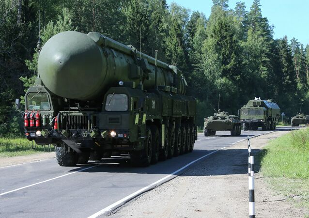 A Yars mobile land-based missile system being transported to its field combat duty site.