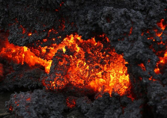 A close up of lava from an eruption on Holuhraun, northwest of the Dyngjujoekull glacier in Iceland