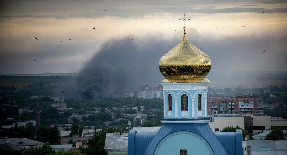 Fire during the shelling of Lugansk.