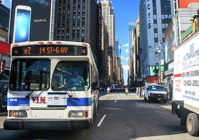 New York City bus on 7th Avenue