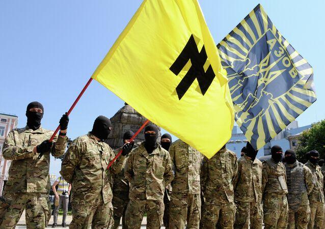 Fighters of the Azov Regiment in Kiev, 2014.