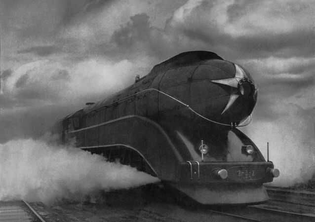 Arkady Shaikhet Express. Moscow, Udelnaya station, 1939 Silver gelatin print One of two trial versions of the 2-3-2 steam train. Followed the route Moscow-Leningrad