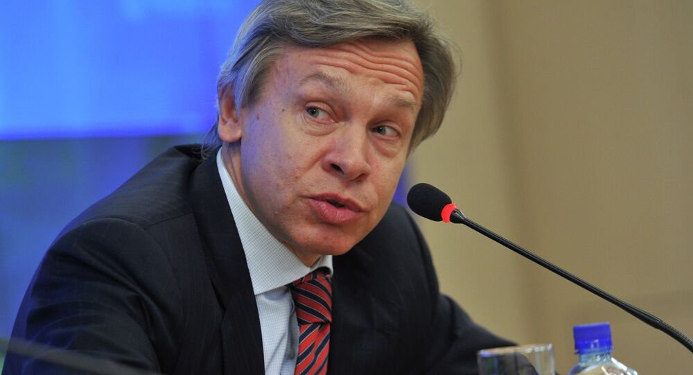 Western sanctions against Russia as well as low growth rates and the possible exit of Greece from the eurozone pose significant risks to the European Union (EU), a senior Russian lawmaker said Monday.