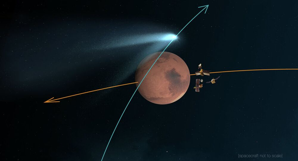 This artist's concept shows NASA's Mars orbiters lining up behind the Red Planet for their duck and cover maneuver to shield them from comet dust that may result from the close flyby of comet Siding Spring (C/2013 A1) on Oct. 19, 2014.