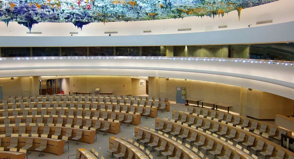 The Human Rights and Alliance of Civilizations Room, used by the United Nations Human Rights Council, in the Palace of Nations (Geneva).